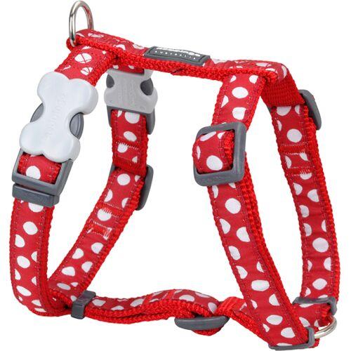 Red Dingo Hundegeschirr Design mit weißen Spots, M: Brust 45 - 66cm, Hals 36 - 59cm, Breite 20mm, weiße Spots/rot