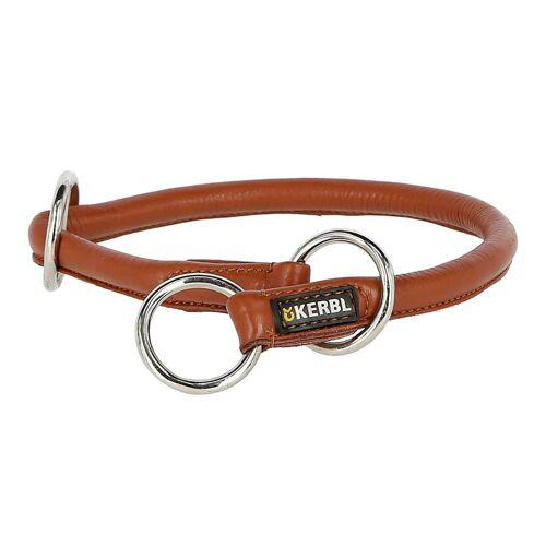 Kerbl Rundleder Schlupf Halsband Roma mit Stopper für Hunde, 50cm, 8mm, cognac