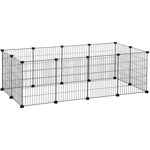 SONGMICS Verstellbares Laufgitter für Kleintiere und Meerschweinchen, 143 x 73 x 36 cm, schwarz