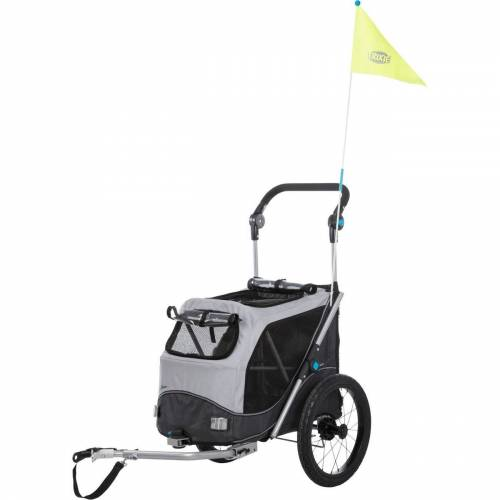 TRIXIE Fahrrad-Anhänger, faltbar, S: B 58 × H 93 × L 74/114 cm, grau 12794