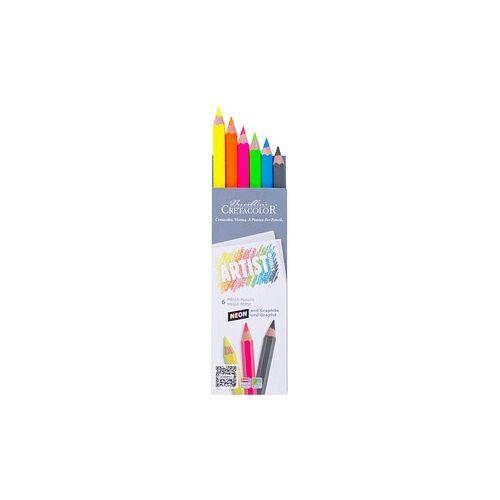 Brevillier's CRETACOLOR 6 Brevillier's CRETACOLOR Artist Studio MEGA Neon + Graphit Buntstifte farbsortiert