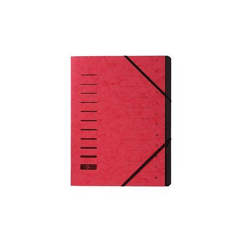 PAGNA Ordnungsmappe Ordnungsmappen 12 Fächer rot