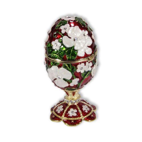 Spieluhr.de Schmuck Ei rot mit Spieluhr nach Faberge-Art aus emailiertem Metall