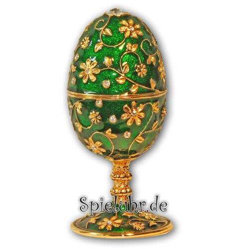 Spieluhr.de Schmuck- Ei Grün mit Spieluhr nach Faberge-Art aus emailiertem Metall