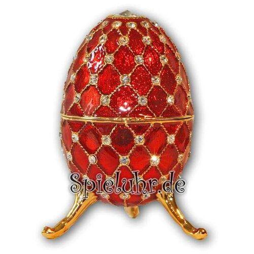 Spieluhr.de Schmuck- Ei Rot mit Spieluhr nach Faberge-Art aus emailiertem Metall