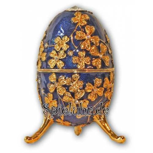 Spieluhr.de Schmuck-Ei-Blau mit Spieluhr nach Faberge-Art aus emailiertem Metall