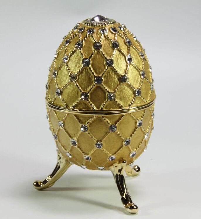 Spieluhr.de Spieluhren-Schmuck-Ei goldfarben nach Faberge-Art aus emailiertem Metall