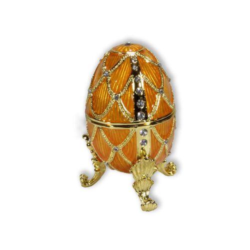Spieluhr.de Schmuck Ei gelb mit Spieluhr nach Faberge-Art aus emailiertem Metall