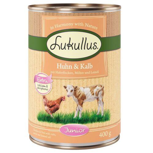 Lukullus 6 x 400 g Junior Huhn & Kalb Lukullus Hundefutter nass