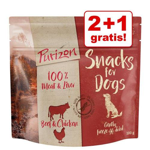 Purizon 2+1 gratis! 3x100g Purizon Snacks Huhn & Fisch Hundefutter