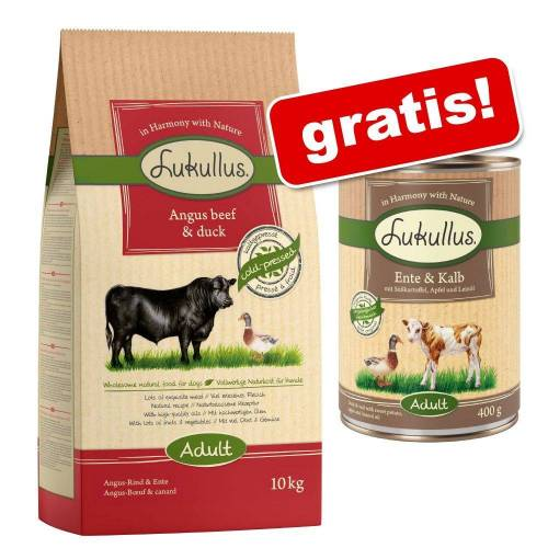 Lukullus Großgebinde Lukullus Adult Trockenfutter + 6 x 400 g Lukullus Nassfutter gratis! - Adult Huhn & Nordmeerlachs  (10 kg) + Geflügel & Lamm