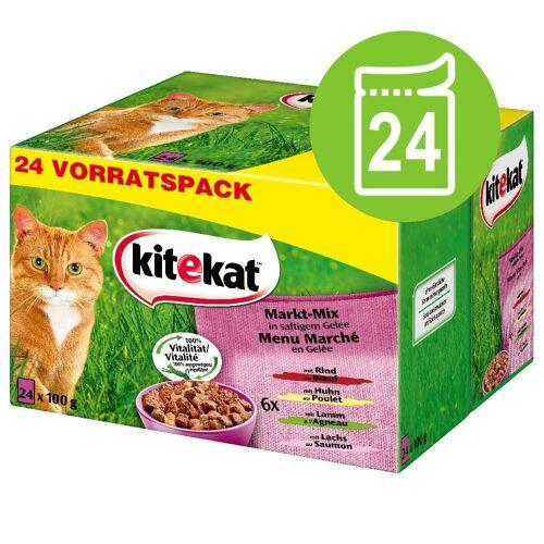 Kitekat 24 x 100g Markt-Mix in Gelee 4Sorten Kitekat Katzenfutter nass
