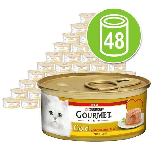 Gourmet 48 x 85g Schmelzender Kern Rind Gourmet Gold Katzenfutter nass