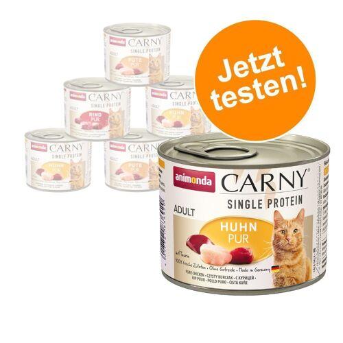 Animonda Carny 6 x 200 g Probierpaket Animonda Carny Single Protein Adult Mix Nassfutter Katze