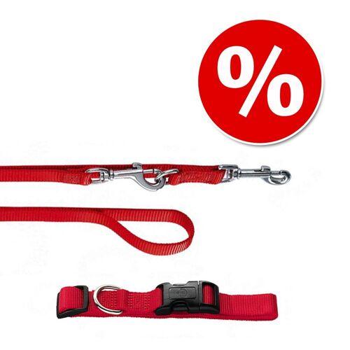 HUNTER Set: Halsband Ecco Sport + Hundeleine, rot - Halsband Größe M + Leine 200 cm / 15 mm