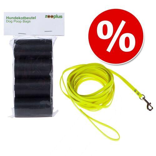 Hundekotbeutel schwarz - 4 Rollen á 20 Beutel Hundezubehör + Heim Bio-Thane Suchleine - neon-gelb - 5 m lang, 13 mm breit Hundezubehör