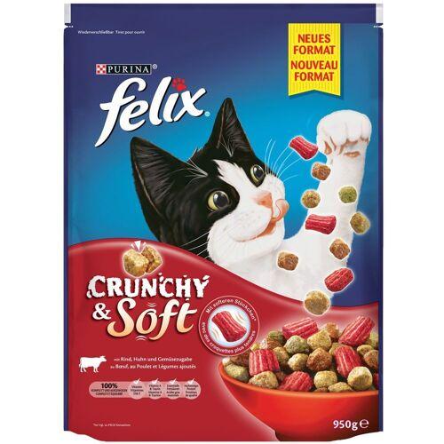 Felix 4x950g Felix Crunchy & Soft Fleisch Katzenfutter