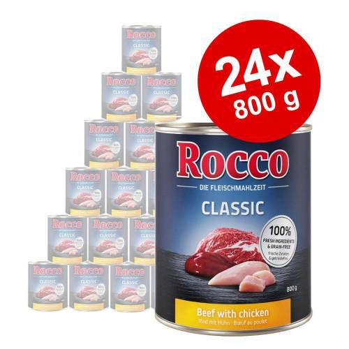 Rocco 24x800 g Rocco Hundenassfutter, Rind pur