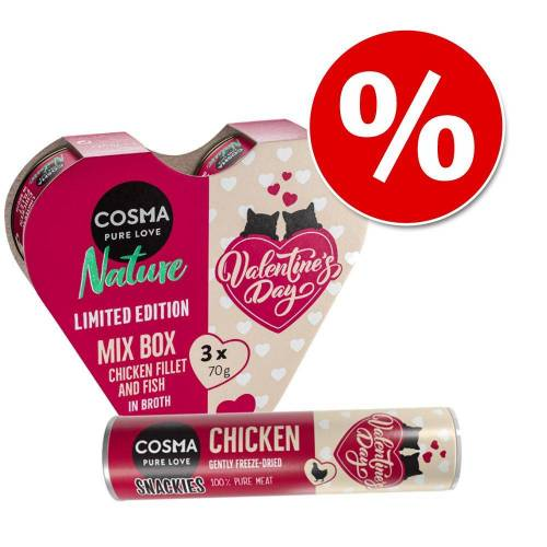 Cosma Valentinstags-Mix Cosma Valentinstags Herz 3 x 70 g + Valentinstags Snackies 26 g