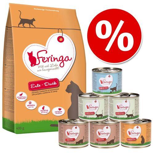 Feringa Probierpaket: 400 g Feringa Katzentrockenfutter, Ente + 6 x 200 g Feringa Nassfutter