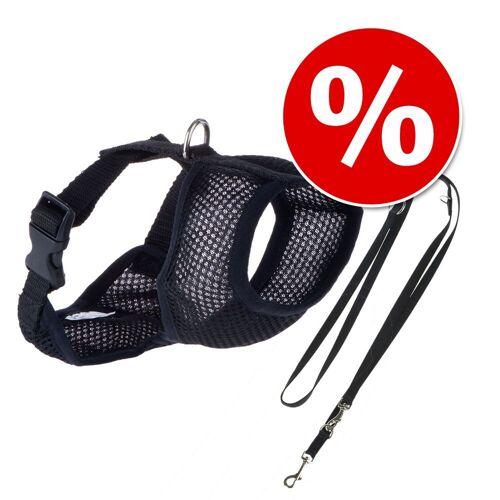 Hundegeschirr soft - schwarz - Gr. S: 29 - 44 cm Brustumfang Hundezubehör + HUNTER Führleine Ecco Sport, schwarz - 110 cm lang, 15 mm breit Hundezubehör