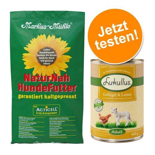 Markus Mühle Probierpaket: 5 kg Markus-Mühle Trockenfutter + 6 x 400 g Lukullus Nassfutter mit Rind & Truthahn