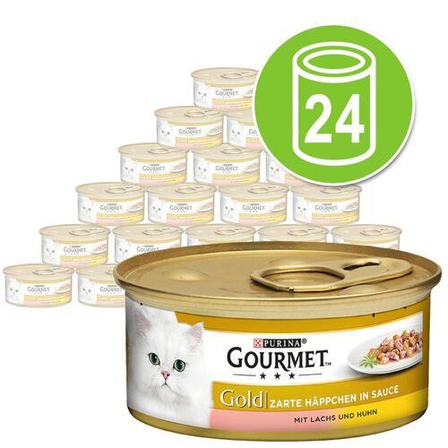 Gourmet 24 x 85 g Gourmet Gold Zarte Häppchen Katzennassfutter, Lachs & Huhn
