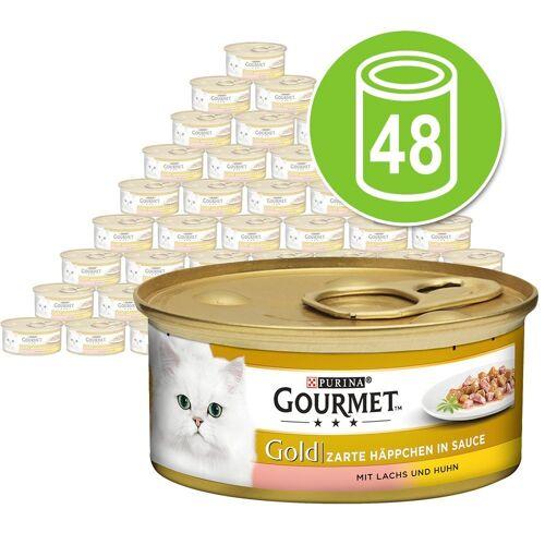 Gourmet 48x85g Zarte Häppchen Huhn & Leber Gourmet Katzenfutter nass