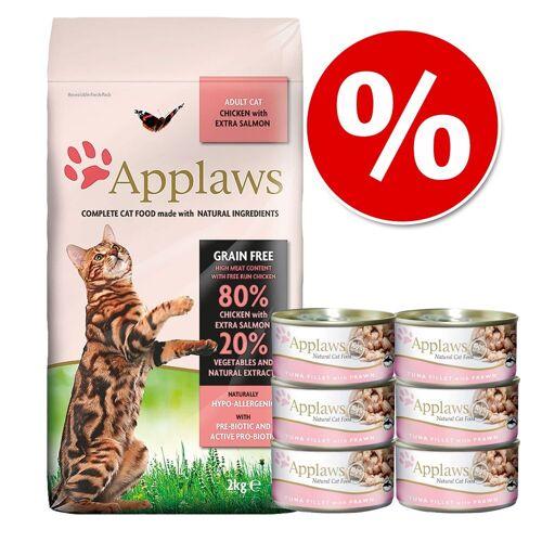 Applaws 2 kg Applaws Katzentrockenfutter, Huhn mit Lamm + 6 x 70 g Applaws Katzennassfutter, Huhn & Käse