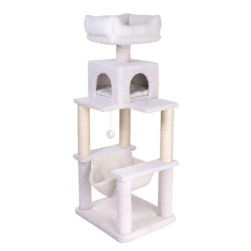 Kratzbaum Fluffy I für Katzen in weiß, H 142 x L 58 x B 50 cm - Kratzbaum Günstig