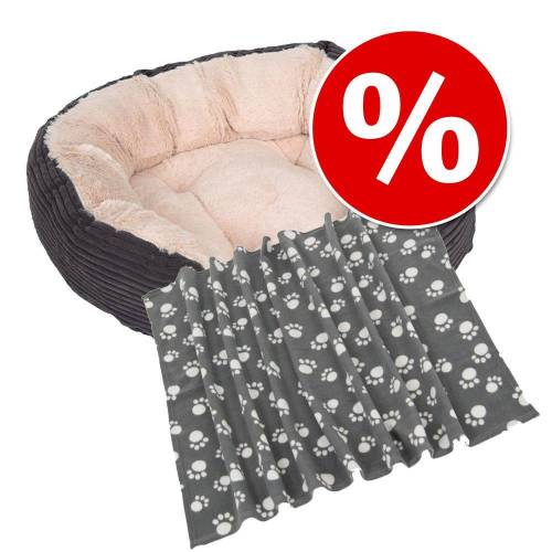 - Rosewood Grey Jimbo Cord/Plush Dog Bed, - L 51 x B43 x H15 Hundezubehör + Kuscheldecke Fleece Paws, Light Grey -  B 70 x L 100 cm Hundezubehör