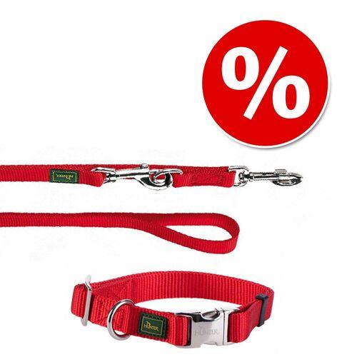 HUNTER Set: Halsband Vario Basic + Hundeleine, rot - Halsband Größe M + Leine 200 cm / 20 mm
