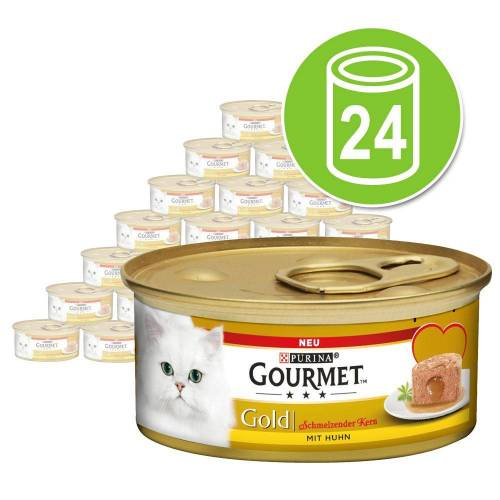 Gourmet 24 x 85 g Gourmet Gold Schmelzender Kern Lachs Nassfutter Katze
