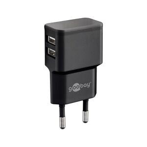 Goobay USB-A-Adapter - USB-A-Ladegerät - CEE 7/16 - USB-A-Adapter - 2 Anschlüsse - 2400mA - 12W - schwarz