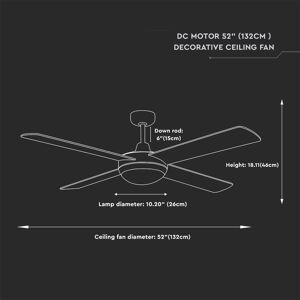 V-TAC Deckenventilator aus Stahl mit Fernbedienung 60 Watt LED