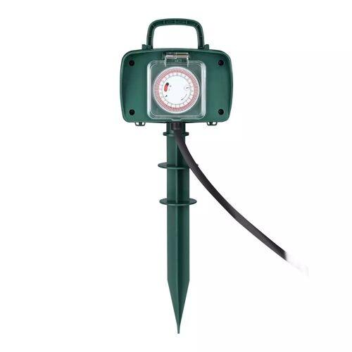 V-TAC 3x Gartensteckdose mit 2 Steckdosen inkl. Zeitschaltuhr und 3 Meter Kabel IP44 spritzwassergeschützt