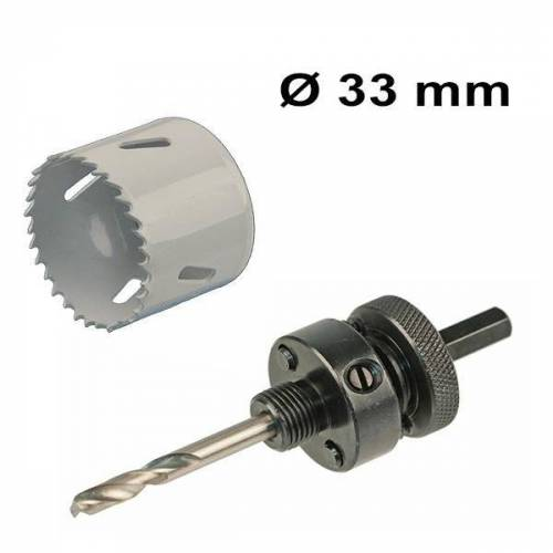 INTOLED Bohrochsäge Set Ø 33 mm Bi-Metall + Adapter mit Bohr