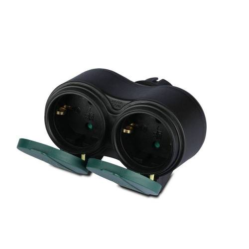 V-TAC Außensteckdose schwarz IP44 - 2 Steckdosen