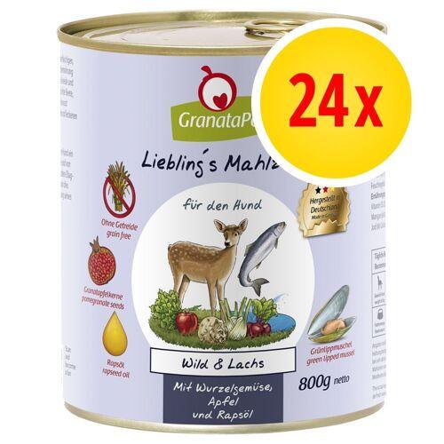 Granatapet 24 x 800g Wild & Lachs Granatapet Liebling's Mahlzeit Hundefutter nass