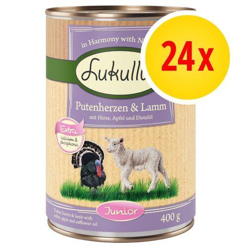 Lukullus 24 x 400g Junior Naturkost Mix Lukullus Hundefutter nass