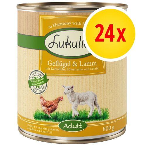 Lukullus 24 x 800g Mix - 4 Sorten Lukullus Naturkost Hundefutter nass