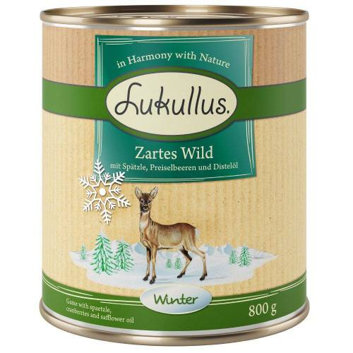 Lukullus 6 x 800g Winter-Menü Zartes Wild Lukullus Hundefutter nass