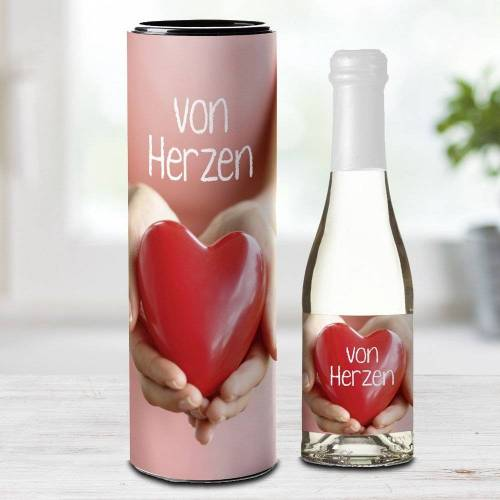 """Piccolo-Sektflasche """"Von Herzen"""""""