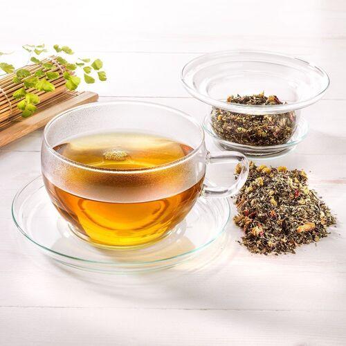 Trendglas Jena Glas-Teetasse mit Filter und Deckel