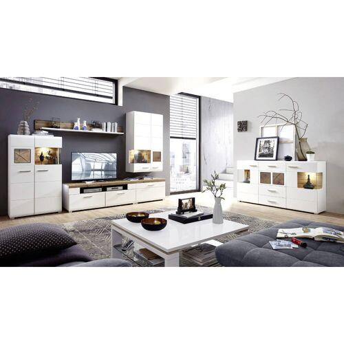 Wohnwandset inkl. Sideboard mit LED FARO-36 matt weiß mit Hirnholz Nb.