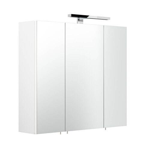 Spiegelschrank 70cm weiß TALONA-02 mit LED, Schalter & Steckdose, B/H/T: 70/62-67/17 cm