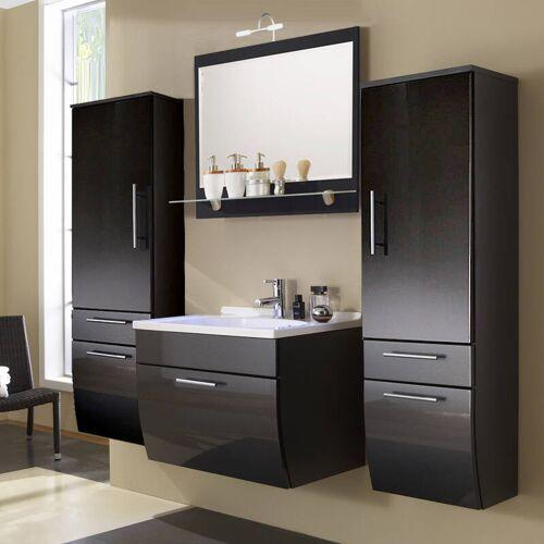 Badmöbel Set TALONA-02 Hochglanz anthrazit, 70cm Waschtisch, Halogen-Spiegel, B x H x T: 190 x 200 x 49,5 cm