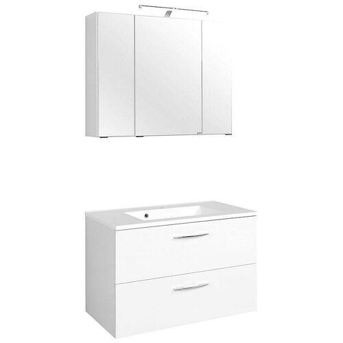 Waschtisch & Spiegelschrank Set BERGAMO-03, weiß, B x H x T ca.: 80 x 200 x 48cm
