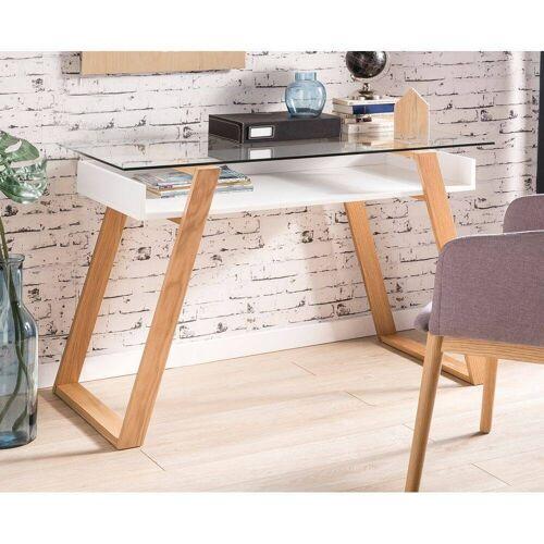 Schreibtisch weiß matt, Glasplatte - B/T/H: 110/55/75cm