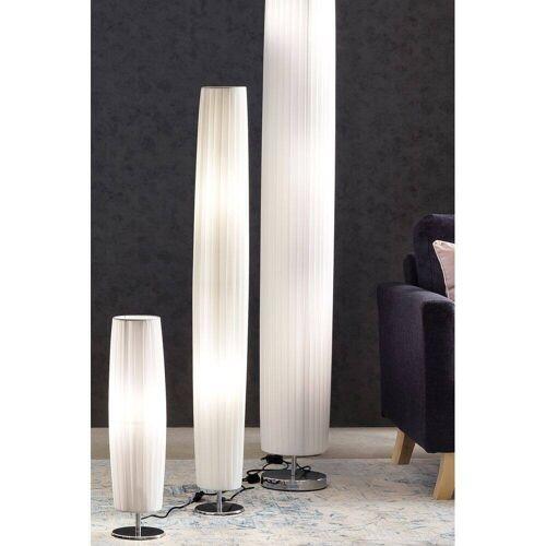 Stehlampe rund weiß, Plisseé Lampenschirm - B/T/H: 15/15/120cm